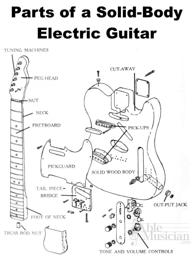 parts of a solid body electric guitar